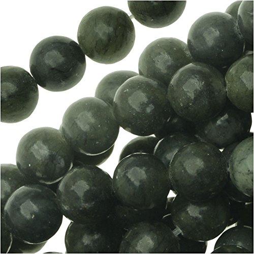 Dark Green Jade (UnCommon Artistry Dark Green Serpentine Russian Jade Round Beads 6mm/15.5 Inch)