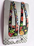 Pair of Bright Floral Print Black Hair Clips Snap Bendies Sleepies 6.5cm (2.6')