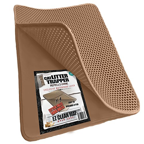 Cat Litter Trapper - 23x21 - Brown - Litter Falls Through Holes. Exclusive Urine/Waterproof Layer. Only by iPrimio. Soft & Light. 23x21 inches. Urine Pad Feature. Patent Pending.