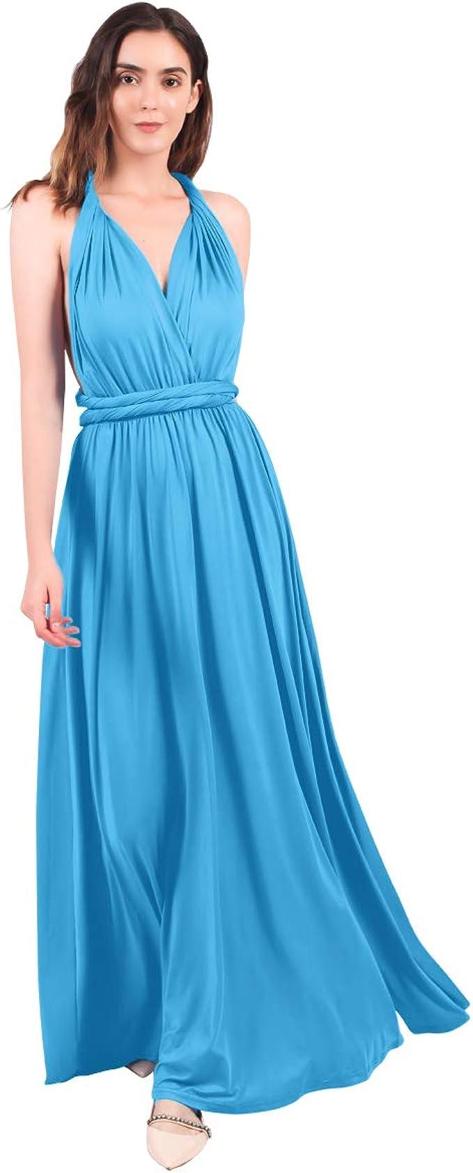 FYMNSI Damen Multiway Lange Abendkleid Hochzeit Brautjungfernkleid
