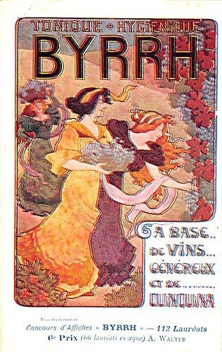 Advertising Byrrh Postcard Tonique Hygienique A Base De Vins Genereux de Quinquina Old Vintage Antique Post Card A. Walter Unused