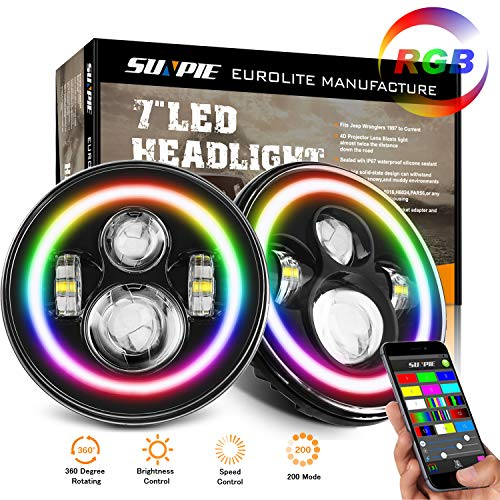 7″ LED Headlights with Rotating RGB Halo Speech Brightness adjustment Remote for 1997~2017 Jeep Wrangler JK LJ CJ Hummer H1 H2 Headlamp DRL Driving Lights Bulb