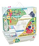 Blue Ribbon 14-Inch by 18-Inch by 20-Inch Complete Bird Cage Kit for Medium Birds, White/Granite, My Pet Supplies