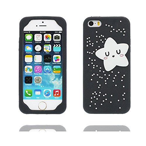 Custodia iPhone 5, iPhone 5S SE 5G copertura / case in Gel TPU Durevole flessibile morbido Cover Case / Nero Case stelle