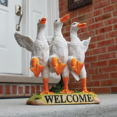 Design Toscano Delightful Dancing Ducks Welcome Sign Garden Statue, 11 Inch, Polyresin, Full -