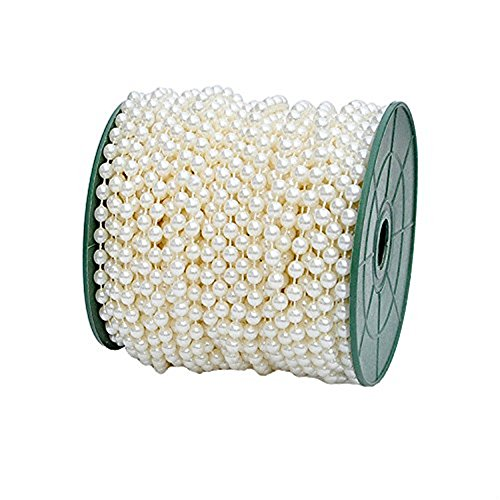 B&S FEEL 5mm Faux Pearl Beads Garland Pearl Bead Roll Strand for Wedding Party Decoration, 99 Feet Roll, Ivory ()