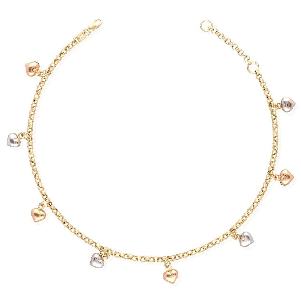 14k Yellow Gold White Gold Tri-Color Gold Heart Charm Hollow Anklet Bracelet 9'' 10'', Tri-Color Gold