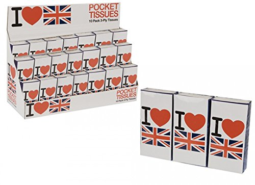 1 Pack 10 I Love UK GB Union Jack Flag Paper Tissues Pocket United Kingdom Heart PMS International