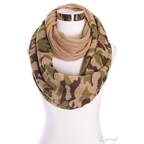 ScarvesMe CC Hot and New Cable Knit Warm Winter Camo Camouflage Infinity Loop Circle Scarf