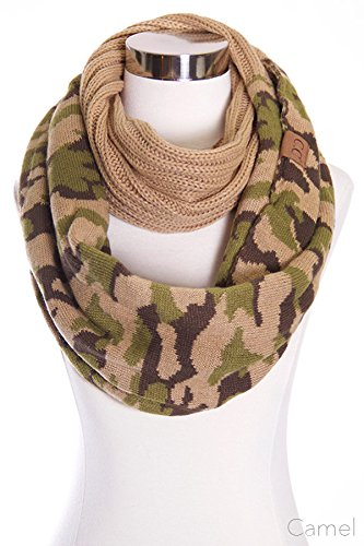 Hot Fall Camo (ScarvesMe CC Hot and New Cable Knit Warm Winter Camo Camouflage Infinity Loop Circle Scarf (Camel))