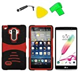 Heavy Duty Hybrid w Kickstand Phone Cover Case Cell Phone Accessory + LCD Screen Protector Guard + Extreme Band + Stylus Pen + Yellow Pry Tool For LG G Stylo LS770 / LG G4 Stylus H631 / LG G Stylo MS631 (S-Hybrid Black Red) -  ExtremeCases