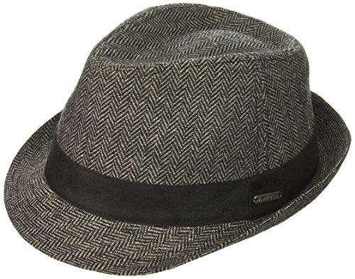 Van Heusen Men's Herringbone Fedora Suede Hat Band, Charcoal, - Fedora Herringbone