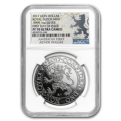 2017 NL Netherlands 1 oz Silver Lion Dollar Restrike PF-70 NGC 1 OZ PF-70 NGC (Lion Dollar Coin)