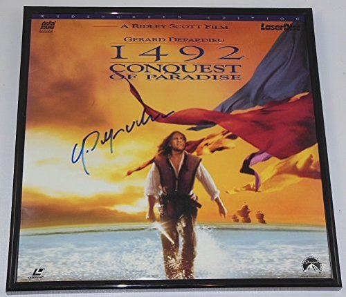 Gerard Depardieu 1492: Conquest of Paradise Hand Signed Autographed LaserDisc Movie Framed Loa