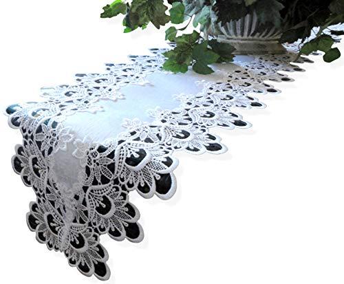 """65"""" Lace Dresser Scarf Table Runner White Flower European Doily Shelf Mantel"""