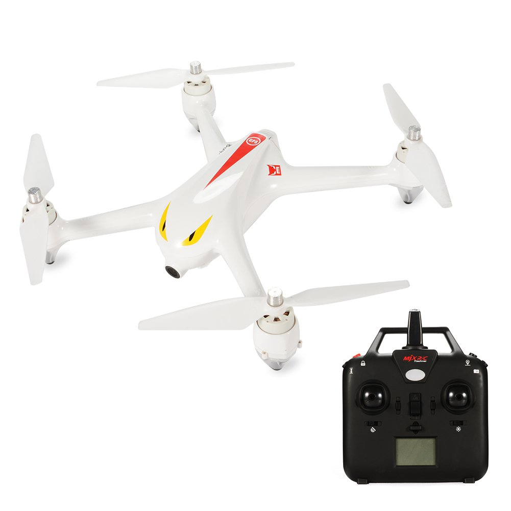 RCtown MJX B2C 1080P Camera RC Drone, Brushless Motor Quadcopter, Independent ESC, Smart Transmitter Alarm, High Capacity Battery GPS Aircraft White by RCtown (Image #1)