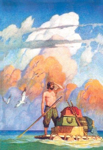 Robinson Crusoe's Raft - 12x18 Art Poster by N.C. Wyeth - Robinson Crusoes Raft