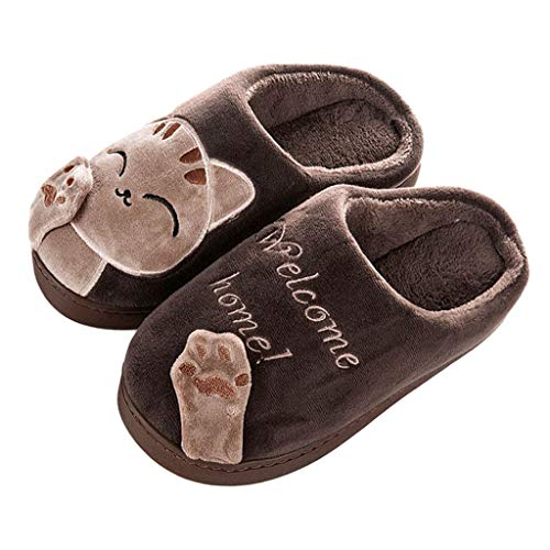 Kids Boys Girls Winter Slippers Children Cartoon Cat Non-Slip Indoors Shoes Warm Plush Household Slipper