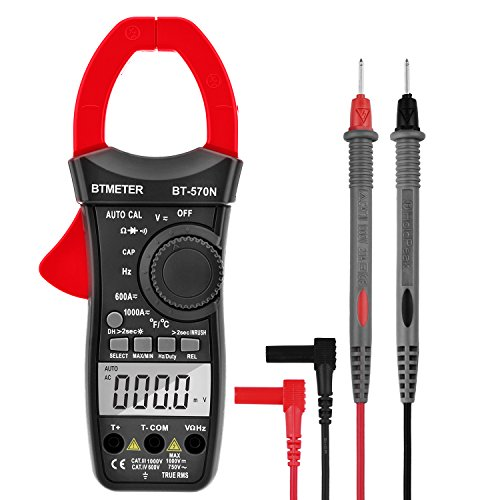 Clamp Multimeter,BTMETER BT-570N Auto Range AC/DC Clamp meter 6000 Counts, True RMS, Resistance, Cap, Hz, Duty Cycle, Temperature, Inrush Current Test