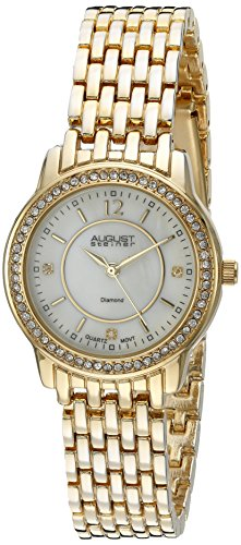 August Steiner Women's AS8027YG Diamond & Crystal Accented Mother of Pearl Yellow Gold Bracelet Watch