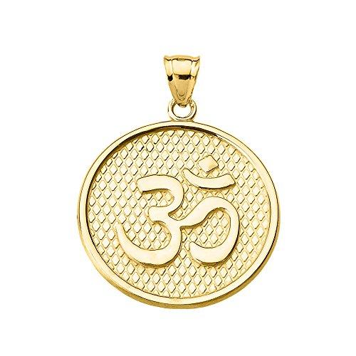 - Hindu Yoga 10k Yellow Gold Om/Ohm Engravable Round Pendant Necklace