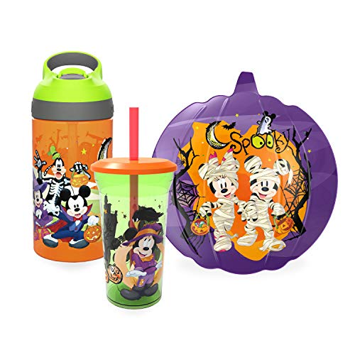 Zak Designs Disney Mickey Mouse & Minnie Mouse Halloween Dinnerware Set Includes Shaped Plate, 14oz Tumbler, & 16oz Water Bottle, Made of Durable Material (Mickey, Minnie, 3-Piece Set) (Mouse Set Plates Mickey)