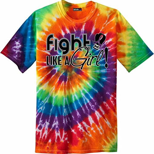 Fight Like a Girl Signature All Causes, LGBT Pride, Marriage Equality Awareness Unisex T-Shirt - Rainbow Tie-Dye [M]