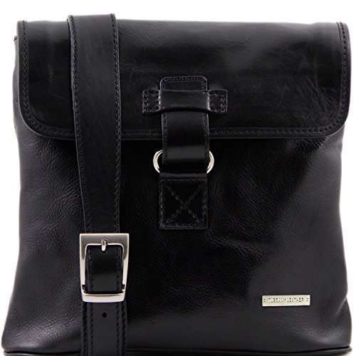 Nero pelle in 2 Andrea a Tuscany Leather Nero tracolla TL9087 Borsello c1SWw4qp