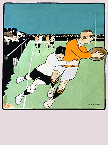 (Rugby (artist: Van Hasselt) France - Vintage Poster (24x36 SIGNED Print Master Giclee Print w/Certificate of Authenticity - Wall Decor Travel)