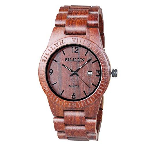 SILILUN Mens Wooden Watch Analog Quartz Lightweight Handmade Wood Wrist Watch Calendar Wood Watch