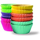 Bahoki Essentials 300 Piece Rainbow Colored Paper Baking Cups - Cupcake & Muffin Liners