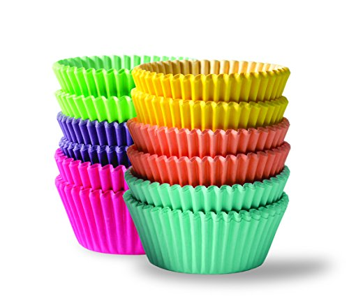 BaHoki Essentials 300 Piece Rainbow Colored Paper Baking Cups - Cupcake & Muffin Liners (Set of (Coral Cupcake Liners)