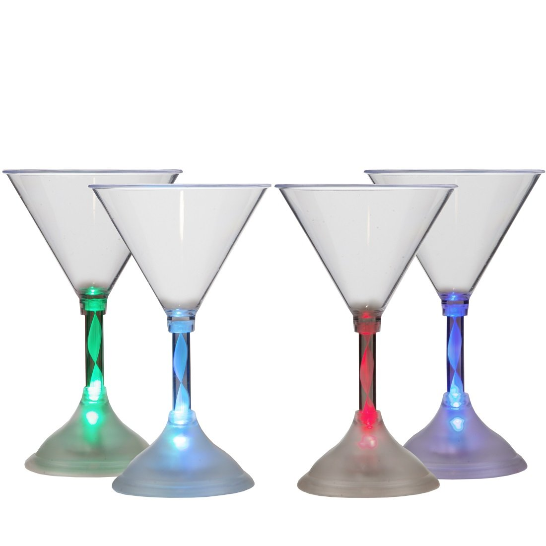 Lily's Home LED Light Up Flashing Plastic Martini Cocktail Glasses, Color Changing with 7 Different Colors and Rainbow Mode, Essential For Parties (6 oz. Each, Set of 4) by Lilyshome