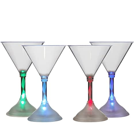 Brand New Hot LED Light Up Flashing Wine Glasses with Spiral Stem