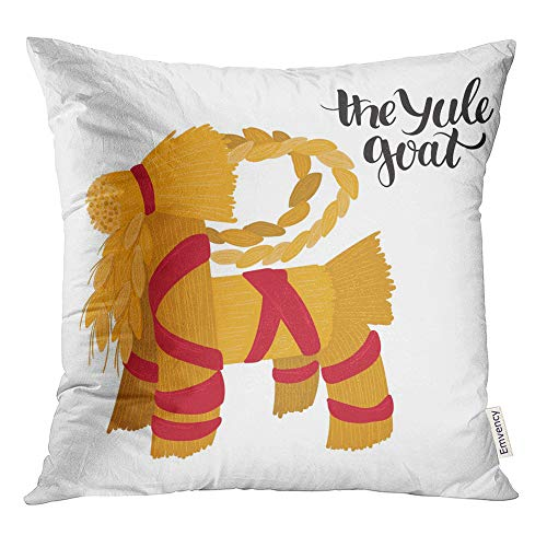 Emvency Throw Pillow Covers Decorative Cases Traditional Yule and Xmas Straw Goat Symbol of Good Luck and Fertility Scandinavian 18x18 Inch Cover Cushion Pillowcase Square Case Print