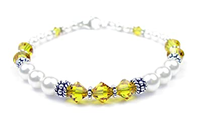 eff7341645e6 DAMALI Handmade Sterling Silver Swarovski Crystal Element Beaded Bracelet  Freshwater Pearls Simulated Birthstones Citrine - November