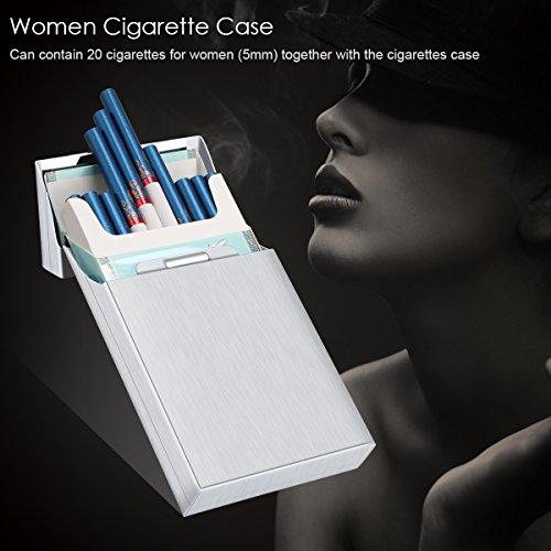 per Argento per sigarette sigarette sottile Sigarette Custodia Custodia alluminio Supporto Custodia Argento Padgene per in magnetico sigarette sigari 20 6ZqcWYHyYU