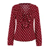 Ladies Long Sleeve Loose Blouse Spring Autumn Polka Dot V Neck Shirt Tops Women