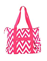 Ever Moda Chevron Print Extra Large Tote Bag with Coin Purse, Pink and White