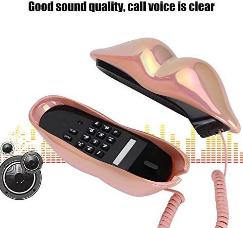 Hakeeta Teléfono con Cable, teléfono Fijo Teléfono Fijo Forma de Labios de Boca Labios con número Función de Almacenamiento para hogares y oficinas. (Rosa/Púrpura(Rosa galvanizado): Amazon.es: Electrónica