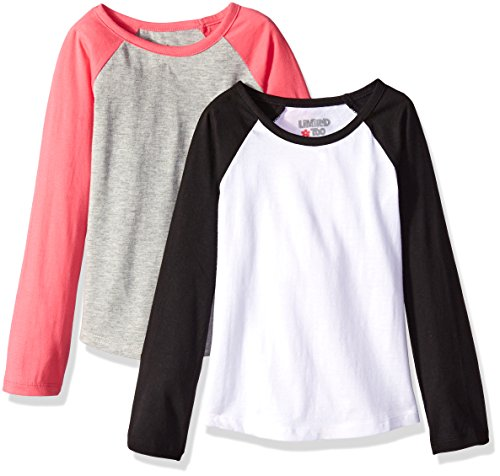 Too Top Shirt Limited - Limited Too Girls' Big 2 Pack: Long Sleeve Baseball Tee-Shirt, Black/White/Heather Grey/Medium Pink, 7/8