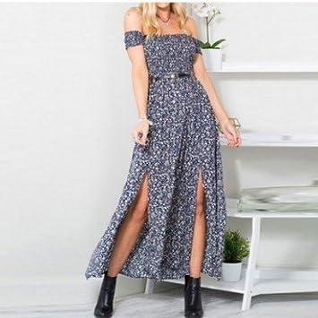 9e837052c680 Amazon.com: Autumn Water Sexy Strapless Beach Summer Dress Sundresses Vintage  Bohemian Maxi Dress Robe Femme Boho Floral Women Split Long Dresses  Vestido: ...
