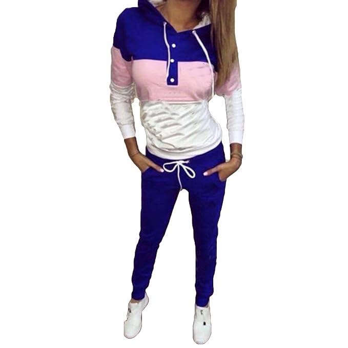 Meedot Mujer Chandal Conjunto Sudaderas Camisa de Entrenamiento Pantalones Señoras Casual Gimnasio Deporte Jogger Al Aire