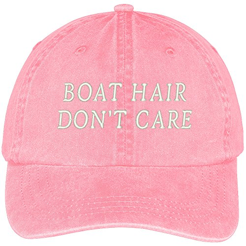 Trendy Apparel Shop Boat Hair Don't Care Embroidered Cotton Adjustable Washed Cap - Pink (Dyed Twill Cap Solid Pigment)