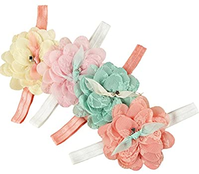 DANMY Baby Girl Super Stretchy Headband Big Lace Petals Flower Baby Hair Band Newborn Hair Accessories