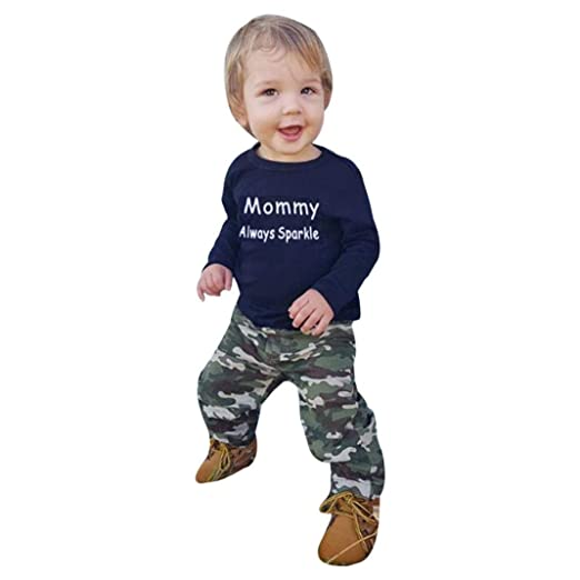 9b4658ef1715 Amazon.com: Outtop(TM))) Toddler Children Kids Baby Girl Boy Clothes Letter  Camouflage T-Shirt Tops+Pants Outfits: Clothing