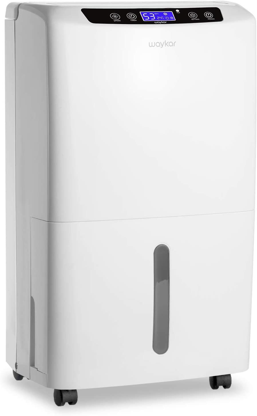 Waykar 40 Pint Dehumidifier for Home Basements Bedroom with Drain Hose and Intelligent Humidity Control, Continuously Removes 5 Gallons of Moisture Day in Spaces up to 2000 Sq. Ft.