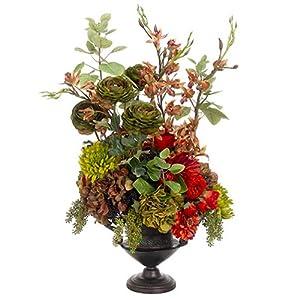 "36"" Hx23 W Zinnia, Hydrangea & Rose Silk Flower Arrangement -Brick/Green 10"