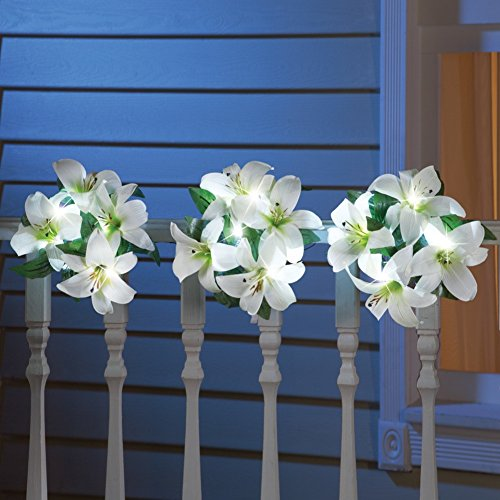 Set of 3 Lighted Spring Easter Lily Wreath Flower Balls Topiary Decor (Swan Topiary)