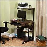 Mobile Computer Tower with Shelf /color:,Espresso/Model: 50163BLK